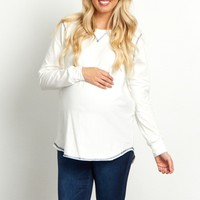 White-Stitched-Accent-Long-Sleeve-Maternity-Top