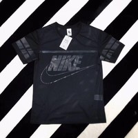 """Nike"" Women Casual Fashion Letter Print Short Sleeve Breathable Grid T-shirt Top Tee"