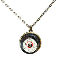 Compass level necklace with brass chain