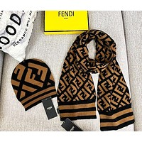 FENDI Autumn Winter High Quality Women Men Knit Hat Cap Scarf Set Two-Piece-1