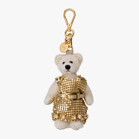 Prada Trick Orsetto Jeanne Bianco Bear Gold Dress Keychain Charm 1TO035