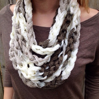 Shuffle (Taupe and White) Crocheted Infinity Chain Scarf, Spring Scarf, Summer Accessory, Chain Necklace