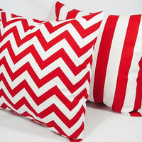 Two Throw Pillow Covers Red and White - 16 x 16 inches Decorative Throw Pillow Couch Pillow Cushion Cover Accent Pillow