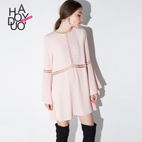 Haoduoyi  Womens Spring Summer Cute Hollow Out Lace Sexy Chiffon Mini Dress O-neck Flare Sleeve Short Girl Dresses
