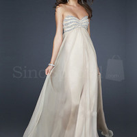 Appealing Ivory A-line Sweetheart Neckline Floor Length Sequins Chiffon Prom Dress from SinoSpecial