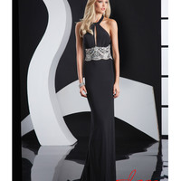 Jasz Couture 2014 Prom Dresses - Black Satin & Silver Beaded Halter Prom Gown