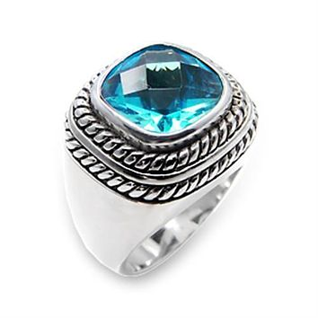 Silver Band Ring Womens 6X209 Rhodium 925 Sterling Silver Ring with Synthetic