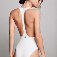 Calvin Klein White Cheeky Racerback Swimsuit - Urban Outfitters