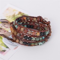 Unique Wrap Bracelet Leather Bracelets 3 Strands Wrap Bracelets Woven Multilayer Boho Bracelet Handmade Jewelry Drop