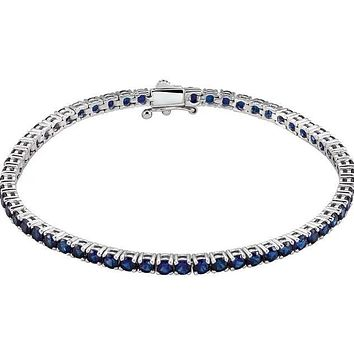 "Lab-Grown Colored Gemstone Line 7.25"" 14K White Gold Bracelet"