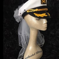 Bachelorette Veil Bride Nautical Captain Hat & Sash Last Sail Before The Veil Bridal Veil Sailor White Wedding Veil Anchor Cruise Pool Party