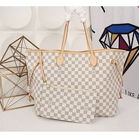 LV Louis Vuitton Classic Hot Sale Two-Piece Shoulder Bag Shopping Bag Full of Printed Letters White tartan