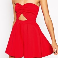 ASOS Bandeau Playsuit in Scuba with Cutout