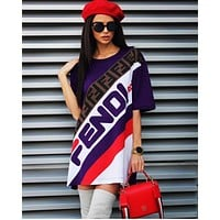 FENDI Summer Fashion Women Casual Print Short Sleeve Round Collar Dress Purple