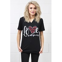 Love is All You Need Buffalo Heart V-neck Tee {H. Black} - Size MEDIUM