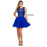 Sleeveless Homecoming Lace Bodice Dress Royal Blue Chiffon Skirt