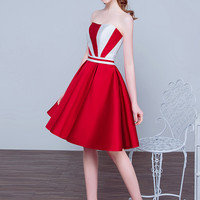 Strapless Fit Flare Mini Dress in Red or Purple