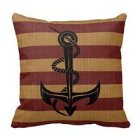 Burlap Red & Tan Stripes with Silhouette Anchor Pillows