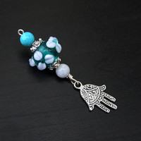 Turquoise and Blue Chalcedony Forest Spring Hamsa / Hand of Fatima Blessingway bead - Blessing bead, baby shower gift, pendant, doula gift