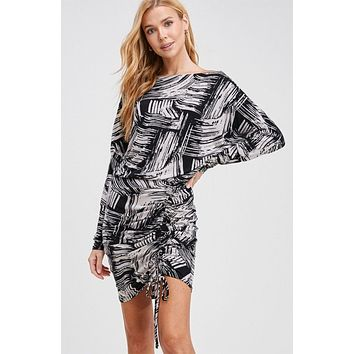 Can't Resist Black Print Ruched Bodycon Dress
