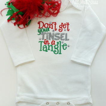 Baby Girls Christmas Bodysuit - Over The Top Bow - Dont Get Your Tinsel In A Tangle - xmas - Baby Shower Gifts - Holiday - Long Sleeve