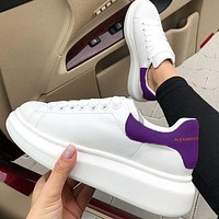 ALEXANDER MCQUEEN Tide brand men and women models simple sports and leisure Velcro white shoes(Velvet tail) Purple