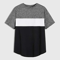 Fashion Casual Men Marled Panel Colorblock Tee