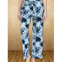 Drawstring Tie Dyed Comfy Pants - Navy
