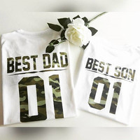 Father and son matching shirts, Best DAD Best SON camouflage dad and baby matching shirts, father and son clothes Daddy baby matching outfit