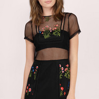 Re:Named Let's Pick Flowers Embroidered Mini Dress