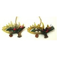 Resin Antler Ornaments Set of Two