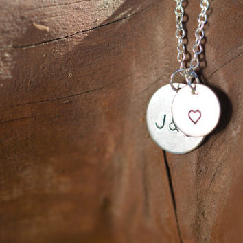 Initials necklace, Tiny disc necklace, Couples necklace, Silver two disc necklace, Mom sister girlfriend necklace, True love necklace, Gift