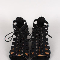 Solo-01 Strappy Lace Up Open Toe Flat Sandal