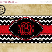 SALE Front license plate - Black and white chevron with bright red monogram - personalized gift monogrammed car tag front car tag (1001)