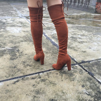 Boots Stretch Faux Suede Slim Thigh High Boots- Over the Knee Boots Brown