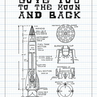 Print or Canvas, Love You To The Moon And Back 11x14 in Sketch Print, Baby Decor, Nursery Decor, Wall Print, Nursery Art