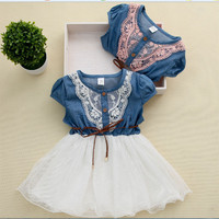 Hot selling baby clothes girl clothes denim short-sleeved summer dress