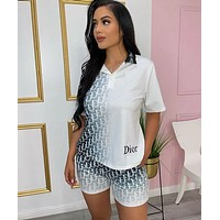 DIOR Woman Casual Print Short Sleeve Top Shorts Set Two Piece