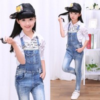 2017 autumn children's clothes girls jeans causal lace denim blue girl jeans overalls for girls big kids jeans long trousers