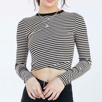 Women's Trending Popular Fashion Knit Slim Long Pullover Long Sleeve Round Necked T-Shirt Crop Top Bare Midriff _ 4284