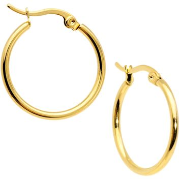 20mm Gold Tone PVD Stainless Steel Hoop Earrings