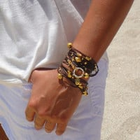 Brown and Gold Leather Bracelet / Necklace