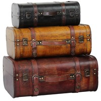Three Colored Vintage Style Luggage Suitcase (Set of 3) | Overstock.com Shopping - The Best Deals on Decorative Trunks