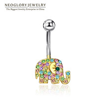 """Elephant Rhinestone Belly Button Ring """"FREE SHIPPING"""""""