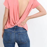 Short Sleeve Drapped Open Back Top