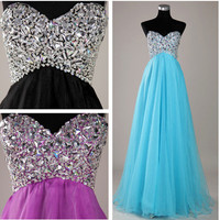 2012 Sweetheart Beaded Tulle Formal Evening Party Long Prom Evening Dresses Gown