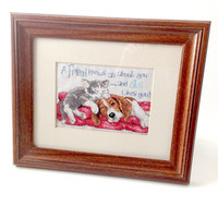 Finished Needlework, Cat and Dog Picture, Friends Motto, Cross-stitch project, Framed Needlework