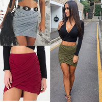 Bodycon Cross Fold Pencil Skirts