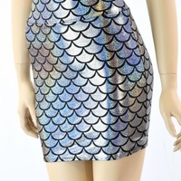 "16"" Long Silver Dragon Mermaid Scale Bodycon Skirt"