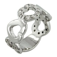 Designer Inspired Sterling Silver Solid and Pave Hearts Cubic Zirconia Ring